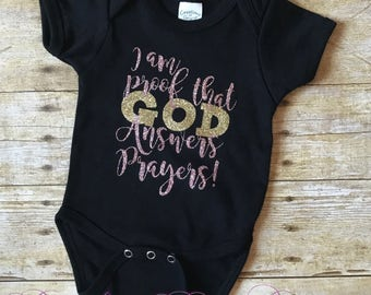 I Am Proof That God Answers Prayers Onesie, Baby Shower Gift, Baby Girl Gift, Baby Gift, Rainbow Baby, God Answers Prayers Onesie