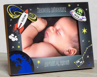 Personalized Baby Picture Frame, Baby Boy Picture Frame, New Baby Boy Frames, Baby Boy Frame, Baby Frame For Boys. Baby Outerspace Frame