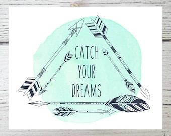 Printable Art, Dreamcatcher Printable, Wall Art Print, Boho Print, Art Print, Instant Digital Download, Digital Art, 8 x 10 Prints, Home