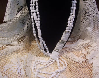 Assorted Shape White Beaded Necklace and Earring Set