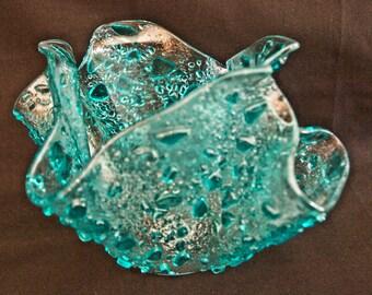 fused vase ( Caribbean blue & clear frit)