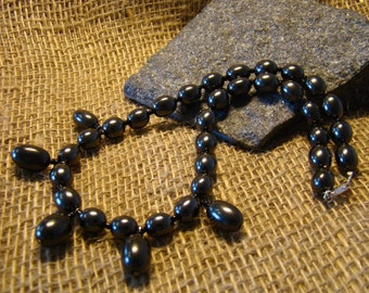 Shungite necklace oval beads 42 cm. / 16.54 inches from Karelia.