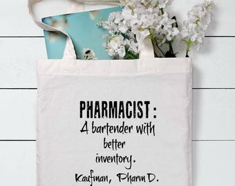 Pharmacist Gift Pharmacist Graduation Gift Tote Personalized Gift Tote Custom Pharmacist Tote Pharmacy tech tote Rx tote Rx Gift
