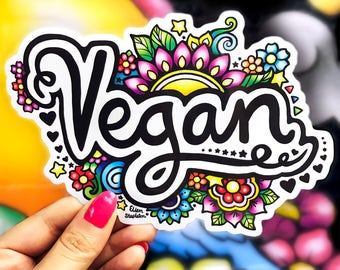 Vegan Sticker - Large - Car Sticker, Ipad Sticker, Vegan Artwork