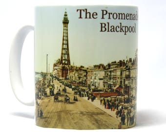 Blackpool, The Promenade, Coffee Mug, Oh I Do Like To Be Beside The Seaside, Dishwasher Safe Mug, Deck Chair Charge, 10 oz Ceramic Mug