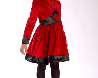 Festive girl-Children's dress in red velvet