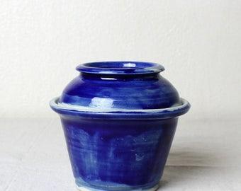 Handmade Porcelain Cobalt Lidded Jar Handmade Pottery