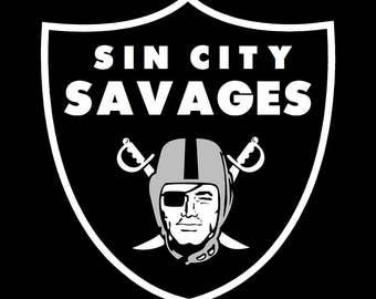 Black Sin City Savages Raiders Shirt S-2XL