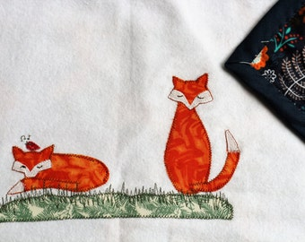 Foxes with navy backing - unique baby blanket of flannelette with cute and whimsical applique.  Proceeds to charity VACD Ltd.