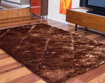 3D Brown Tiles Rectangular Rug