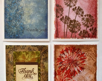 Handmade Thank You Cards four pack, note cards set