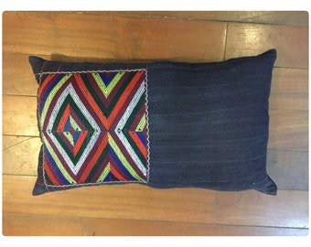 Vintage Handmade Tribal Hmong Muong hand woven,embroidered cotton pillow cover