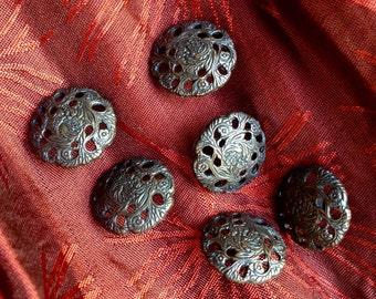 6 vintage dark bronze floral buttons c1970s