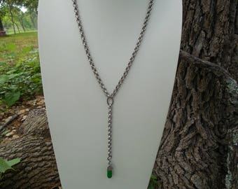 Antique Silver Boho Necklace with Green Teardrop Pendant