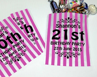 Personalised Candy Bags Choice of Colours Sweet Bags for Birthday Party, Wedding Sweet Cart