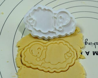 Baby Sleeping on the Cloud Cookie Cutter and Stamp