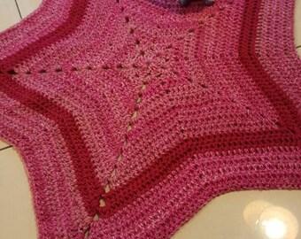 Pink Baby Blanket Star Blanket Recieving Blanket Crochet Star Baby Gifts