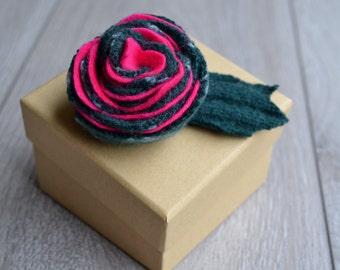 CLEARANCE SALE: Handcrafted Felt Brooch - Pink Stripe Rose
