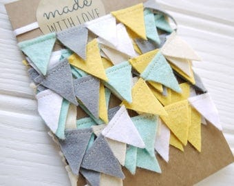 Mini bunting, grey, yellow, blue, white felt garland. Reusable party bunting, party garland, birthday decoration, mini garland. Felt bunting