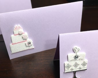 Wedding Cake Place Cards, Bridal Shower Placecards, wedding cake Food Tents Labels, Dessert Table, Treats - 8 per order
