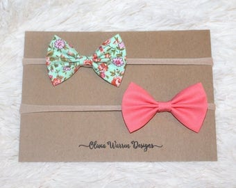 Mint and coral floral bow headband set