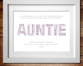 Auntie Personalised Word Art print* A4, A3 or Digital PDF
