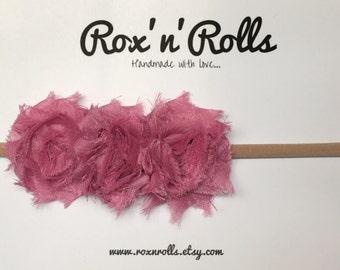 Baby, toddler, newborn, girls dusty pink flower headband accessories