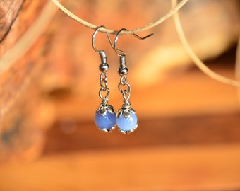 Blue and Silver Flower Earrings
