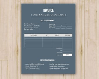 Photographer Invoices - Photoshop Template for Photographers - PSD *INSTANT DOWNLOAD*