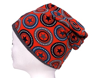 Wendebeanie, Cap to the contact, beanie, slouch, orange, Star, grey, fleece