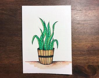 Snake Plant - Botanical - Original Watercolor - Hemp 5x7