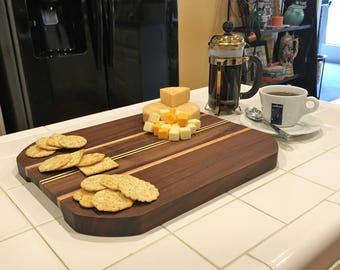 Cheese Board, Black Walnut Butcher Block with Inlays