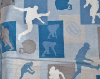 Blue Flannel Football Silhouette Fabric Cotton Quilting - 1 yard