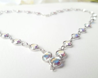 SILVER DREAMS • Swarovski iridescent crystal chain | Sterling silver •