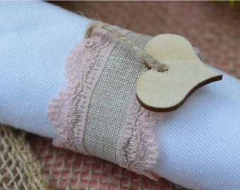 75 Cent - Burlap and Lace Napkin Rings - Weddings & Special Occasions - 10 Count