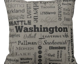 Washington cities pillow - WA typography throw pillow - orange or gray decorative pillow - Wash. cushion - Wa. gift