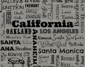 California Cities fabric - by the yard - aqua blue and black - gray and black