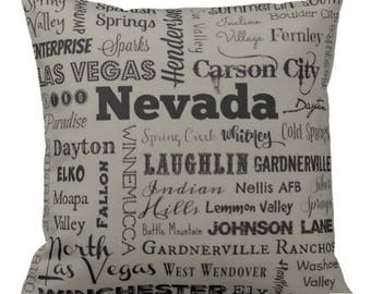 Nevada pillow - NV typography throw pillow - gray or green decorative pillow - Nev. cushion - home decor - gift