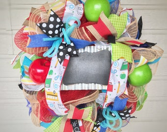 Teacher Appreciation Gift, Thank You Gift, School, Classroom Wreath, featuring Chalkboard Sign, Apples, Ribbon, Gift, Decor