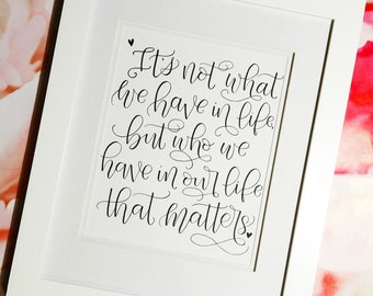 Family Quote, Inspirational Quote, Hand Lettered Art,Calligraphy Art, Brush Lettering