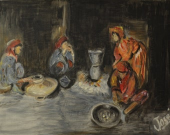 Women preparing the meal - oil on canvas