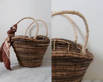 Straw Market Bag/ Basket Purse