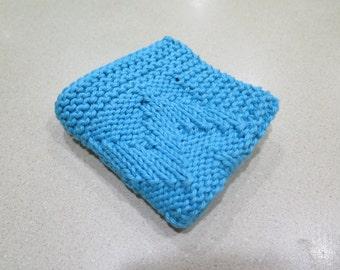 knitted aqua wash cloth