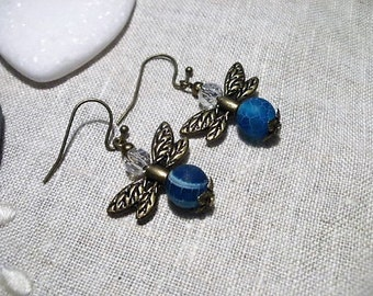 Agate beads Givrees blue Dragonfly earrings