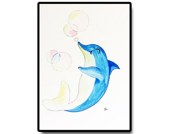 "Dolphin Nursery Art, Aqua Nursery Art, Nursery Wall Art, Kids Room Art, Original Nursery Art, Dolphin and Bubbles, 5""x7"""