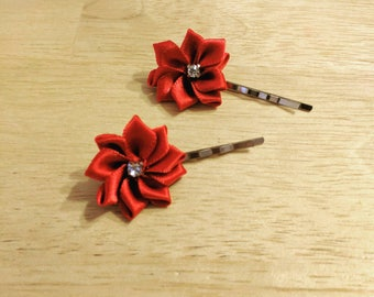 Red flower hair pins with rhinestones
