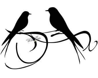 Love Bird Silhouette Clip Art - PNG and SVG - Love Birds - Bird Clipart - Wall Art - Bird feathers - Bird Svg - Instant Download