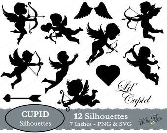 Cupid Silhouette Clip Art - 7 inches - PNG & SVG files - Cupid - Love - Angel - Heart and Arrow - Cupid Images - Instant Download