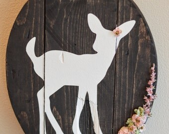 Rustic fawn wall sign, woodland nursery
