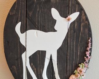 Rustic fawn wall sign, woodland nursery
